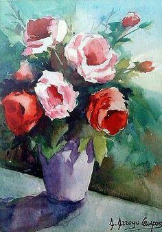Abstract Flowers, Watercolor Flowers, Watercolor Drawing, Painting & Drawing, Art Studies, Oil Painting On Canvas, Flower Art, Bunt, Art Drawings