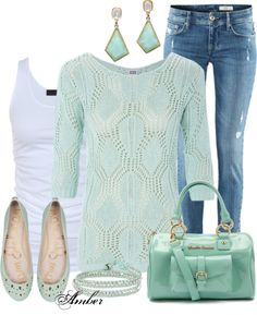 """""""Casual Mint Outfit"""" hottest colors of the season!"""