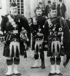 Pipe Major Duncan MacDougall (left), with sons John and Gavin (right) with the 2nd Perthshire Highland Rifle Volunteers in 1896.