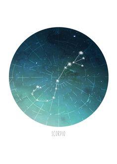 Scorpio Constellation Print by HowlDesignMke on Etsy