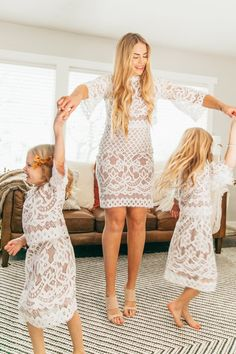 Mom And Baby Outfits, Mother Daughter Matching Outfits, Mommy And Me Dresses, Mom Dress, Girl Outfits, Lace Dress, Picture Outfits, Dress Picture, Little White Dresses