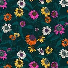 Flora by Marisol Ortega of Figo Studio Echinacea Forest Rayon Detailed Image, Flora, Fiber, Wallpapers, Content, Studio, Fabric, Plants, Pattern