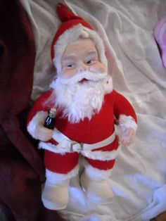 Rushton vintage old santa claus coca cola doll christmas decoration toy bottle $/