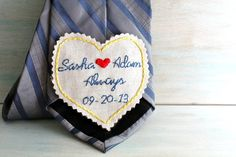 Groom Gift from Bride: Embroidered Tie Patch (Wedding Keepsake) Hand Embroidery, Embroidery Designs, Wedding Groom, Wedding Attire, Wedding Dress, Groom Ties, Wedding Keepsakes, Wedding Gifts, Bride And Groom Gifts