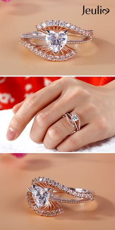 Elegant Bead Two Tone Heart Cut Sterling Silver Ring at Jeulia. It Features A Delicate Heart Stone at Its Center And A Ribbon Decorated with Beads. Stone-Accented Ribbons Form the Ring's Bypassing Shank, Wrapping The Heart in A Sparkling Embrace. Diamond Wedding Rings, Bridal Rings, Diamond Engagement Rings, Diamond Rings, Ring Verlobung, Engagement Ring Settings, Engagement Sets, Necklace Designs, Bling Bling