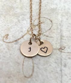 Gold Initial Necklace with Heart, Letter j Necklace, Lower Case, All Letters Available, Mothers Neck J Necklace, Initial Necklace Gold, Letter Necklace, Letter J Tattoo, Fine Jewelry, Unique Jewelry, Jewellery, Hand Stamped Jewelry, Initial Charm