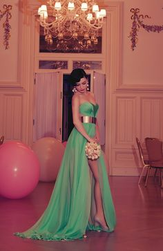 Sagaza Madrid Green Long Slash Prom Dress