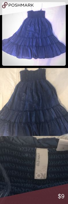 Navy Blue Girls Sundress Old Navy Girls Sundress with silver sparkle accents and full skirt that twirls 😊 perfect for Easter. Great condition. Old Navy Dresses Casual