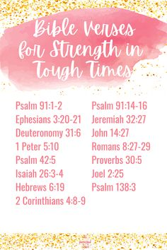 When you're under stress or walking through troubled and tough times, use these Bible verses for strength to help remind you of God's promises! Great Bible verses when you need encouragement! Free printable! #bibleverses #biblequotes #bibleversesforstrength Good Bible Verses, Encouraging Bible Quotes, Bible Verse List, Motivational Scriptures, Powerful Bible Verses, Bible Verses For Women, Powerful Prayers, Inspirational Bible Quotes, Bible Encouragement