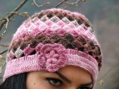 Women Hat Pastel Pink with flower. Flower Hat. Crochet Winter Hat Beret. Knit Hat for Women, Winter Knit beret by WomanStyleStore