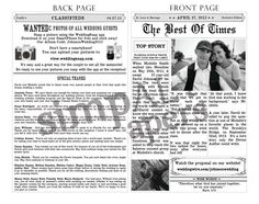 Hey, I found this really awesome Etsy listing at http://www.etsy.com/listing/150635774/newspaper-wedding-programs-customizable