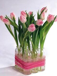 Bottles tied together as tulip vases