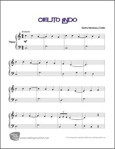 It is very important to take piano lessons in order to play the piano. You have to learn to read piano music if you plan to be a serious piano player. If you try to look into history, you will notice that most of the great piano p Free Printable Sheet Music, Free Sheet Music, Easy Piano Sheet Music, Piano Music, Piano Keys, Mendoza, Piano Digital, Piano Teaching, Learning Piano