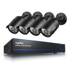 Newing SANNCE 1080P CCTV Video Security 8CH 3000TVL DVR System Kit 4PCS 2.0MP IR Night Vision Camera 8 Channel Surveillance Kits #jewelry, #women, #men, #hats, #watches, #belts, #fashion