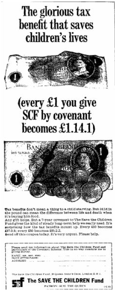 Covenant fundraising appeal by Save the Children. 24 December, 1967