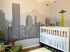 Portland skyline nursery mural. SO RAD.