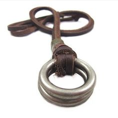 Leather necklace men necklace boys necklace chain necklace metal necklace jewelry made of brown leather and steel pendant necklace  XL-2538. $8.50, via Etsy.