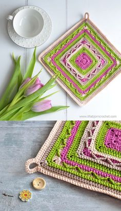 Tulip Potholder - #free #crochet pattern of endless square which can be used for larger pieces. Like cushions and blankets. Designed by www.lillabjorncrochet.com