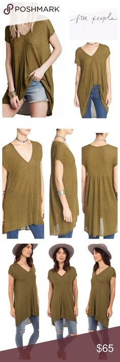 """Free People Tunic🆕 Free People 'Take It Easy' Tunic.    Gauzy and sheer, this free-spirited tunic features a drapey silhouette, cool high/low hem and gently shirred details in back. Approx 30"""" length  V-neck. Short sleeves. Sheer; base layer recommended. 57% viscose, 43% nylon. Hand wash cold, dry flat. ///////NWOT/////// Free People Tops Tunics"""