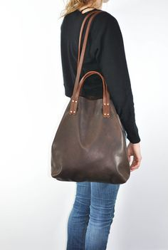 Chestnut leather tote by Eleven Thirty Leather Bags Handmade, Purses And Handbags, Sari, Boots, Shopping, Baskets, Candy, Style, Fashion