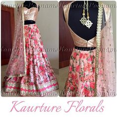 Kaurture Floral Lehngas Here it is ladies..! My floral lehngas will be $585, free shipping and made to ur measurements! This is for a limited time only, will be on a first come basis only. The top is sequins (you can also opt for a raw silk blouse) with a pure raw silk floral lehnga bottom (I have other prints available) and sequins net duppatta. The lehnga also has netting under it for the structure.. For any info see my bio #poonamskaurture