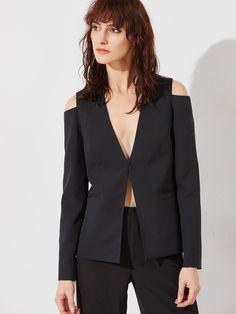 0679f9860f330 Black Cutout Shoulder Hook And Bar Blazer -SheIn(Sheinside) Cute Blazers