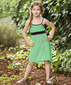 Another great find on #zulily! Lime Stripe Babydoll Dress - Girls #zulilyfinds