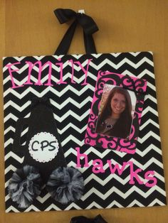 """Made these for Cheer Camp door decorations:) They are 18"""" x 18"""" fabric covered foam board."""
