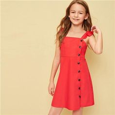 To find out about the Girls Buttoned Front Ruffle Strap Dress at SHEIN, part of our latest Girls Dresses ready to shop online today! Girls Fashion Clothes, Kids Outfits Girls, Tween Fashion, Toddler Girl Dresses, Girl Outfits, Cute Outfits, Cute Dresses, Casual Dresses, Kids Summer Dresses