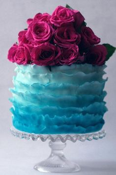 Tiffany blue cake topped with roses