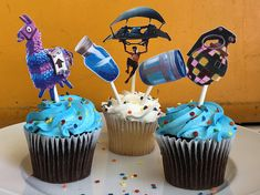 FORTNITE birthday, Fortnite cupcake toppers, fortnite party, 12CT cupcake toppers, Boogie Bomb,llama,chug jug, mini shield