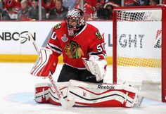 CHICAGO, IL - JUNE 10: Goaltender Corey Crawford #50 of the Chicago Blackhawks plays against the Tampa Bay Lightning in the first period of Game Four of the 2015 NHL Stanley Cup Final at the United Center on June 10, 2015 in Chicago, Illinois. (Photo by Dave Sandford/NHLI via Getty Images)