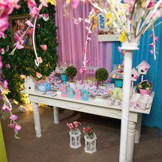 Festa infantil, decoração infantil, passarinho, passarinhos, decoração de passarinho, festa de passarinho, rosa e azul, jardim, decoração, party