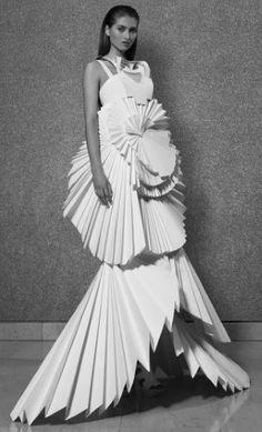 Paper dress~ wearable art - high fashion - fabric manipulation - origami