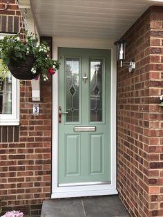 Front Door Makeover Brick House Window 28 New Ideas House Front Door, House Entrance, House Front, House Exterior, Door Makeover, House Window, Green Front Doors, Chartwell Green Front Door, Garage Door Design