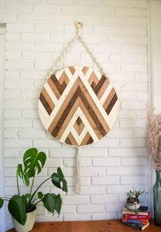 Diy Wall Art, Hanging Wall Art, Wall Art Decor, Pallet Wall Art, Wooden Wall Decor, Wooden Walls, Wood Mosaic, Wall Art Designs, Wood Design