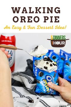 Kid Favorite 3 Ingredient Walking Oreo Pudding Pie Dessert (Party Dessert) | Easy Dessert Recipes for Families - Looking for an easy & fun dessert for a crowd? This walking oreo pudding pie dessert is the perfect make ahead dessert for parties & crowds! Click through for the full recipe! Your party CAN'T go without this easy dessert! 5 Dinners 1 Hour | desserts for parties | easy desserts quick | desserts easy 3 ingredients #easydesserts #kidfriendlyfood #quickdesserts #dessertforcrowd Camping Desserts, Make Ahead Desserts, Quick Easy Desserts, Quick Easy Dinner, Desserts For A Crowd, Dessert Party, Pie Dessert, Party Desserts, Dessert Recipes