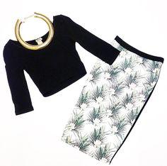 Crop Top $26. Palm Leaf Skirt $34. @ Primp Boutique