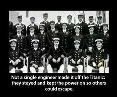 Titanic engineers deserve so much respect. It was said that of the Titanics' crew, many were from Southampton, England, and that when the Titanic went down, there were 600 widows. Rms Titanic, Titanic History, Titanic Ship, Titanic Sinking, Titanic Wreck, Titanic Funny, Titanic Movie Facts, Titanic Photos, Titanic Museum