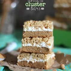 What a Cluster Bars... A totally fun spin on the Ben and Jerry's What a Cluster Ice Cream. A peanut butter blondie topped with Marshmallow Fluff with a yummy caramel krispie topping!