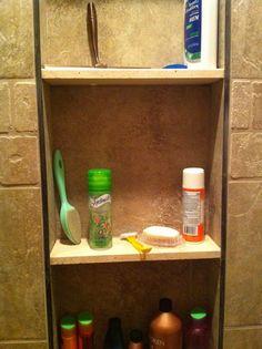 Schluter trim for shower niche? Shower Seat, Shower Niche, Bathroom Renos, Bathrooms, Metal Edging, House Goals, Bathroom Medicine Cabinet, Master Bath, Bathroom