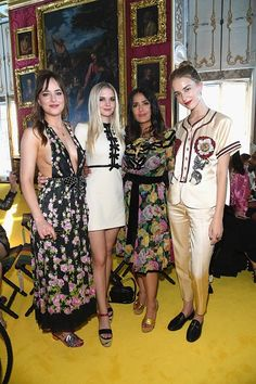 Dakota, her sisters Stella and Grace and Selma Hayek at GucciCruise18, from Twitter