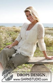 """Sandrine - DROPS Crochet jacket with ¾ sleeves in """"Vivaldi"""" and """"Cotton Viscose"""". Sizes S - XXL - Free pattern by DROPS Design"""