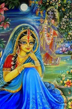 The beloved daughter of King Vrsabhanu is the crest-jewel of all young women. She is fond of wearing blue garments. Her radiant complexion is very pleasing and conquers the beauty of freshly cut gold, Her locks of hair are nicely arranged, and She is the life and soul of Lord Krsna.