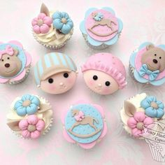 Babyface cupcakes for a Babyshower. Cant wait to meet the little cupcake Baby Cupcake, Baby Shower Cupcakes, Shower Cakes, Fondant Cupcakes, Yummy Cupcakes, Cupcake Cookies, Cupcake Toppers, Fondant Baby, Cupcake Ideas