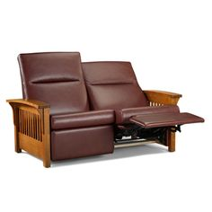 Mission Loveseat Recliner: The sensual feel of leather makes this cozy recliner oh-so-comfortable. Shown in quartersawn oak with pecan brown leather, it's also available in cherry and black leather.  Dimensions 62.5W x 38D x 40H  |  www.chiltons.com  |  #Maine #shaker #Chiltons #leather #recliner #loveseat #furniture #cherry #oak #relax