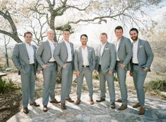 Grey Groomsmen Suits, No Tie, Brown Belt and Shoes. Looks Tidy but Casual.