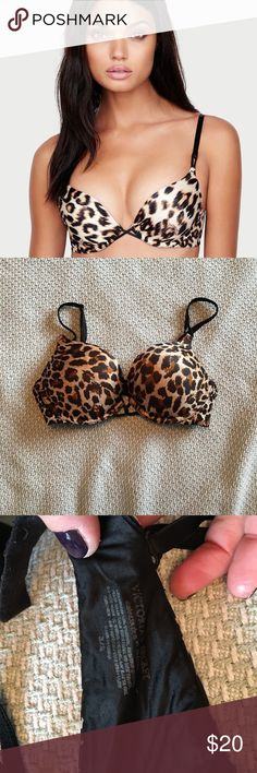 Leopard print bombshell Product Details The ultimate lift-loving push-up is better than ever with even softer padding for the most cleavage and fullness and a U-shaped ballet back for a flawless fit. Gentle wear, lots of life left, smoke free home.   Lift & Lining Push-up padding adds 2 cup sizes for maximum lift Underwire cups  Straps & Hooks Fully adjustable straps Back closure Double row of hook and eye closures  Details & Fabric U-shaped ballet back for a flawless fit Crisscross straps…