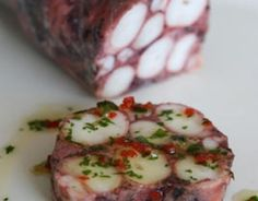 Octopus terrine – the most delicious thing ever! Soon to be appearing at Annie B's Spanish Kitchen Octopus terrine – the most delicious thing ever! Soon to be appearing at Annie B's Spanish Kitchen Octopus Recipes, Fish Recipes, Seafood Recipes, Cooking Recipes, Fish Dishes, Seafood Dishes, Fish And Seafood, Head Cheese, Octopus Salad