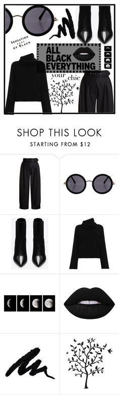 """""""Back in Black"""" by aylizzle01 on Polyvore featuring Isa Arfen, The Row, Yves Saint Laurent, Chloé, WALL, Lime Crime, Vision, Godinger and allblackoutfit"""